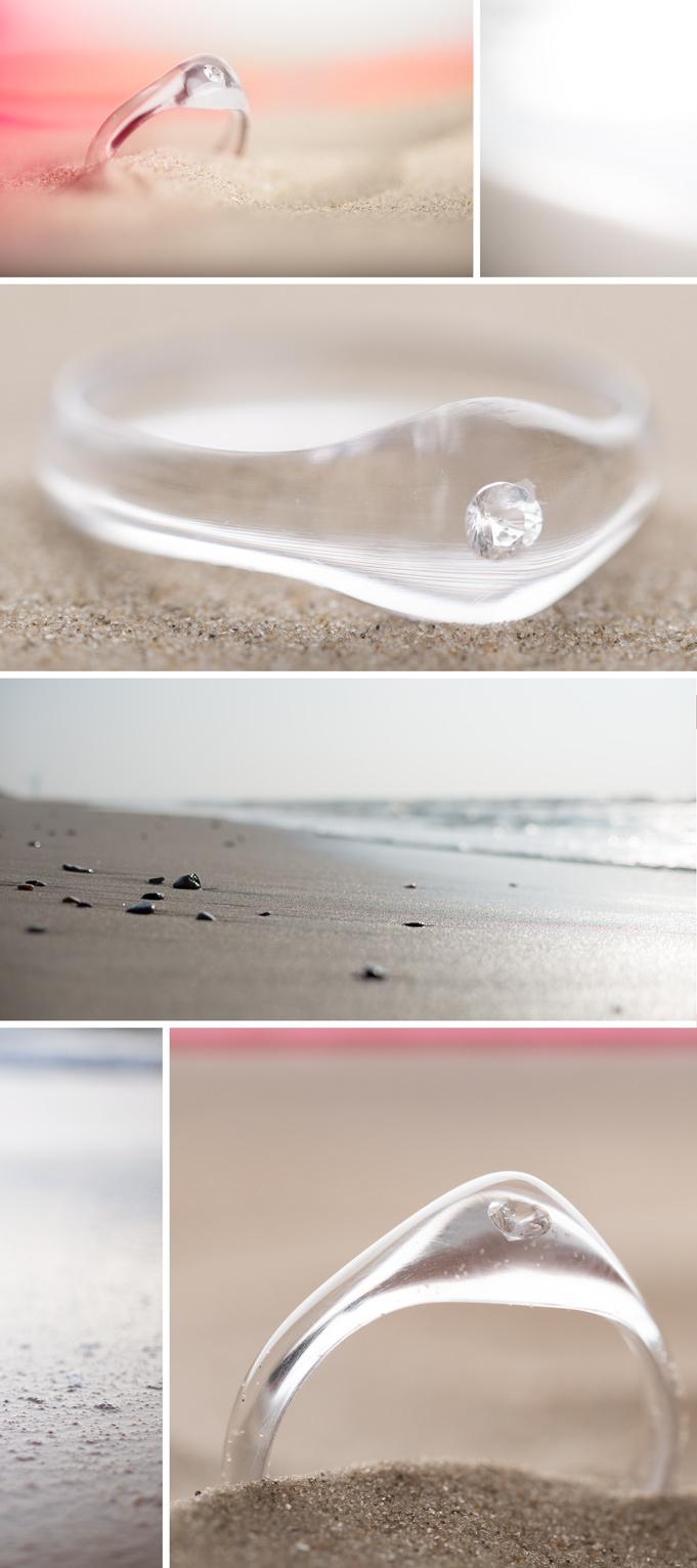 Diamant-Ring in durchsichtigem Acryl