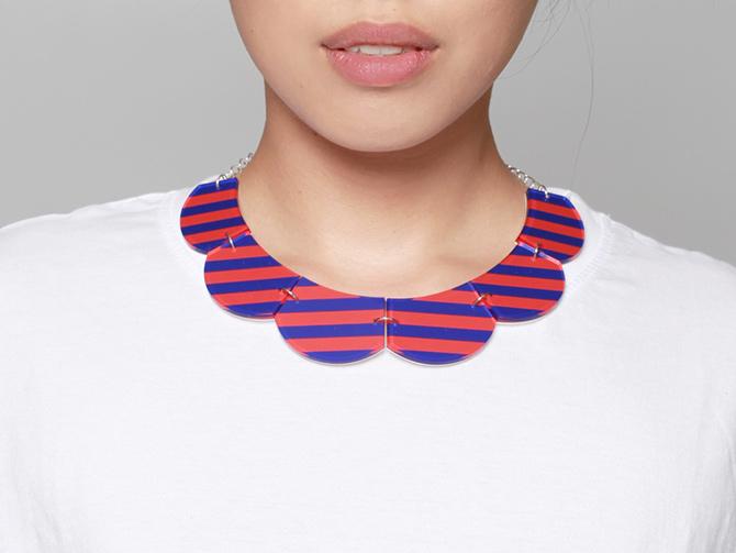 Acryl-Kette in Kragenform mit Streifen von Inca Starzinsky