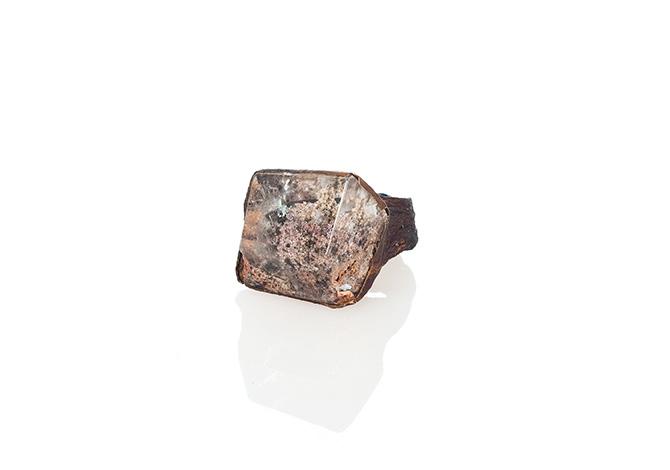 Ring aus getrockneter Aubergine und Quarz von Sari Räthel