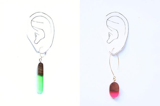 BoldB Harz-Ohrring und Papierschablone Ohr