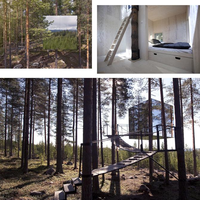 Verspiegeltes Baumhaus im Wald